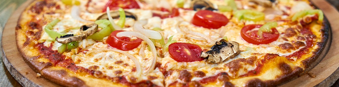 Pizza with traditional toppings.