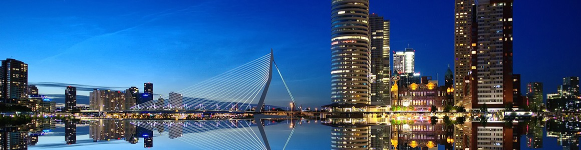 rotterdam, netherlands night time view of skyscrapers..