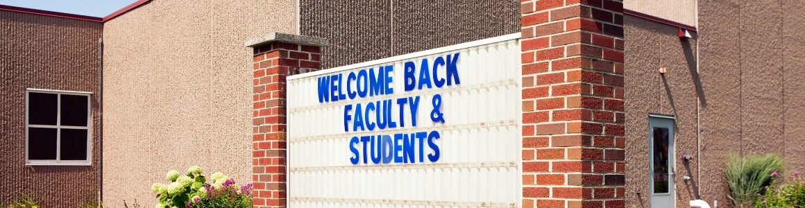 Welcome back faculty and students outdoor sign Fuel up to Play 60 program